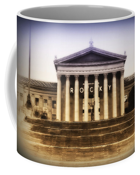 Rocky Balboa Coffee Mug featuring the photograph Rocky On The Art Museum Steps by Bill Cannon