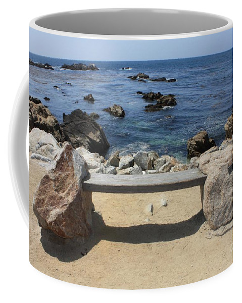 Seaside Bench Coffee Mug featuring the photograph Rocky Seaside Bench by Carol Groenen