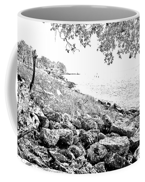 Water Coffee Mug featuring the photograph Rocky Shore by Ches Black