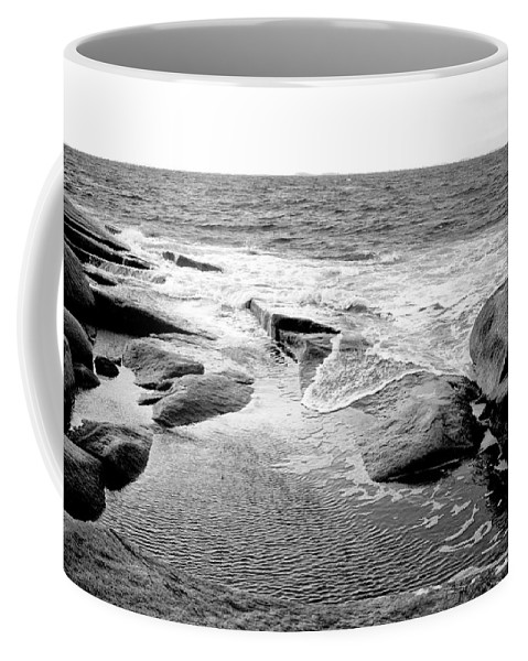 Rocks Coffee Mug featuring the photograph Rocky Shore by Greg Fortier