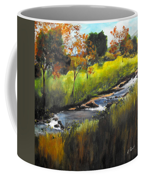 Landscape Coffee Mug featuring the painting Rocky Stream by Ruth Palmer