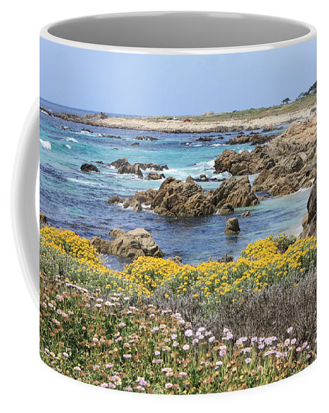 Ocean Coffee Mug featuring the photograph Rocky Surf With Wildflowers by Carol Groenen