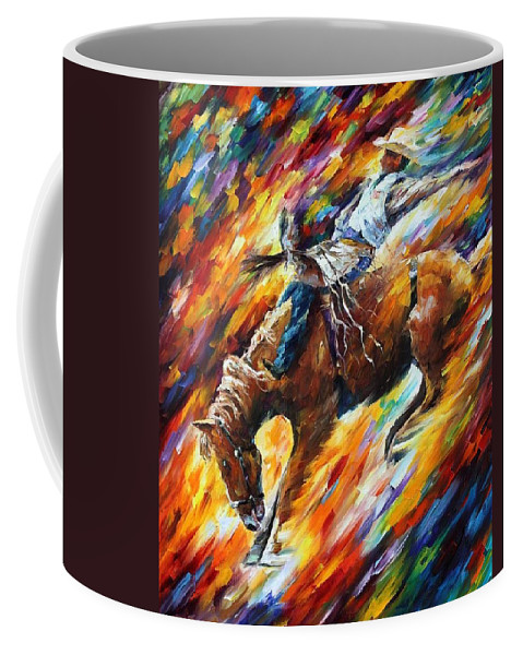 Afremov Coffee Mug featuring the painting Rodeo - Dangerous Games by Leonid Afremov