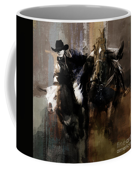 Cowboy Coffee Mug featuring the painting Rodeo Painting by Gull G