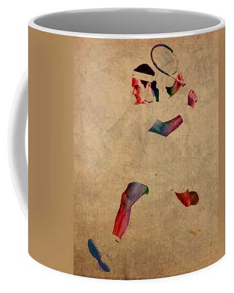Roger Federer Coffee Mug featuring the mixed media Roger Federer Watercolor Portrait On Worn Canvas by Design Turnpike