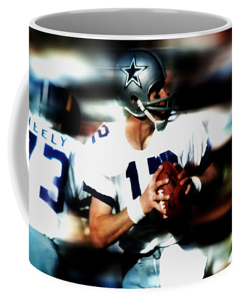 Roger Staubach Coffee Mug featuring the mixed media Roger Staubach by Brian Reaves