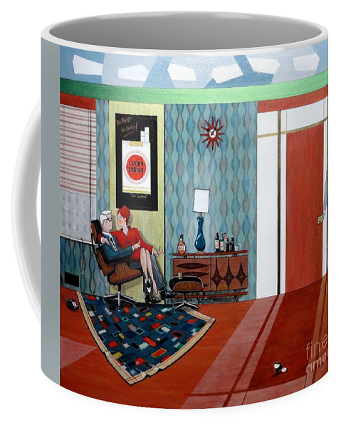 John Lyes Coffee Mug featuring the painting Roger Sterling And Joan Sitting In An Eames by John Lyes