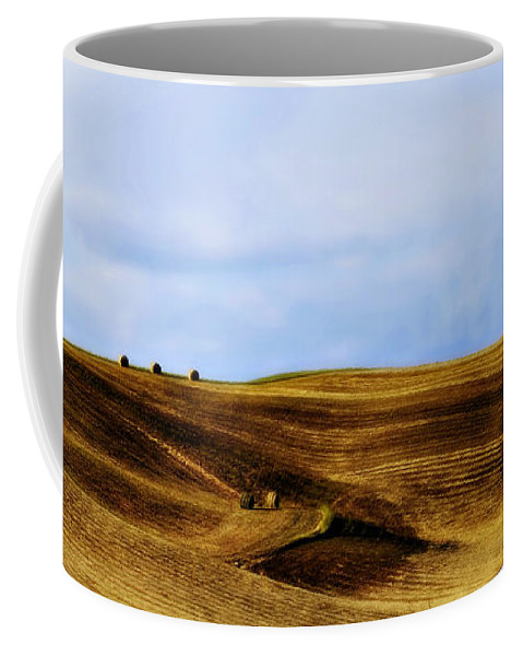 Italy Coffee Mug featuring the photograph Rolling Hills Of Hay by Marilyn Hunt
