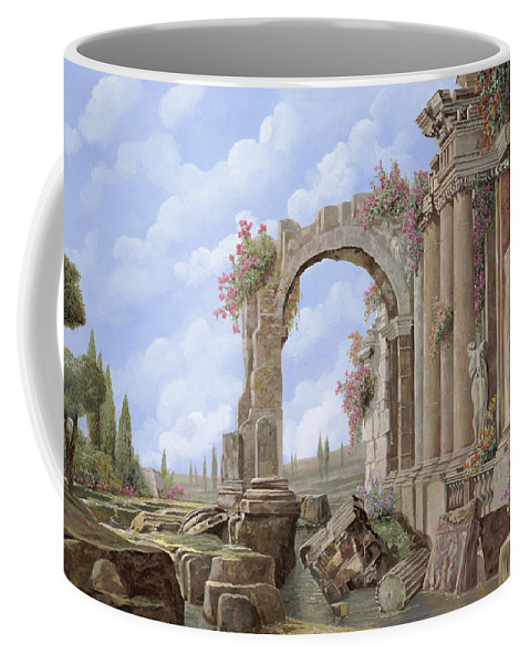 Arch Coffee Mug featuring the painting Roman Ruins by Guido Borelli