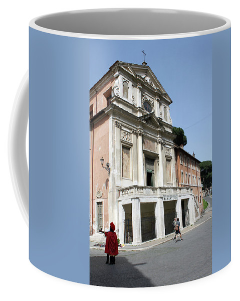 Roman Coffee Mug featuring the photograph Roman Soldier In Red by Munir Alawi