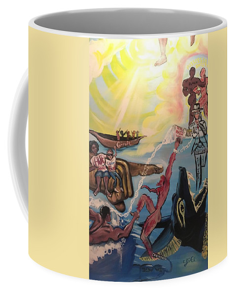 Scripture Coffee Mug featuring the painting Romans 11 by Sean Ivy aka Afro Art Ivy