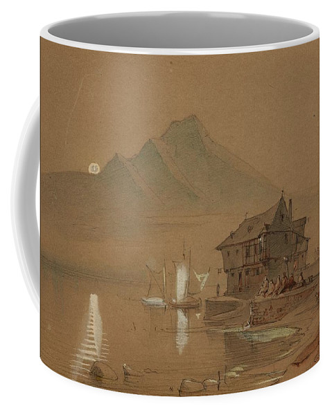 Caspar Scheuren Coffee Mug featuring the digital art Romantic Bay by Mark Carlson