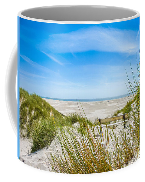 Amrum Coffee Mug featuring the photograph Romantic Bench In The Dunes Overlooking The German North Sea by JR Photography