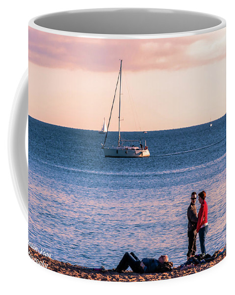 Sunset Coffee Mug featuring the photograph Romantic Moments On The Beach Of Frejus by Jason Yoon