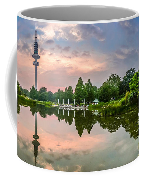 Antenna Coffee Mug featuring the photograph Romantic Pond In Park In Hamburg by JR Photography