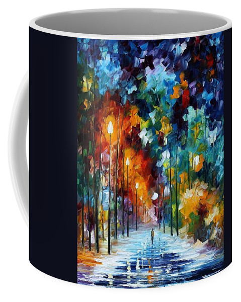 Afremov Coffee Mug featuring the painting Romantic Winter by Leonid Afremov