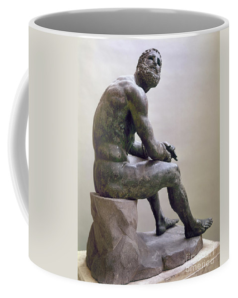 1885 Coffee Mug featuring the sculpture Rome Boxer Sculpture by Granger