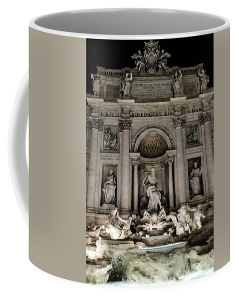 Rome Coffee Mug featuring the photograph Rome - The Trevi Fountain At Night 3 by Andrea Mazzocchetti