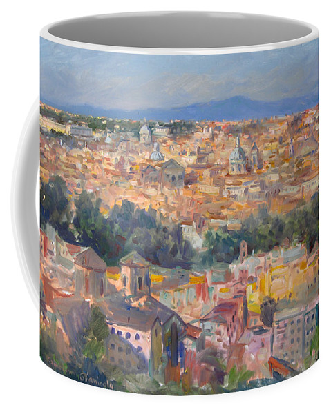 Rome Coffee Mug featuring the painting Rome View From Gianicolo by Ylli Haruni