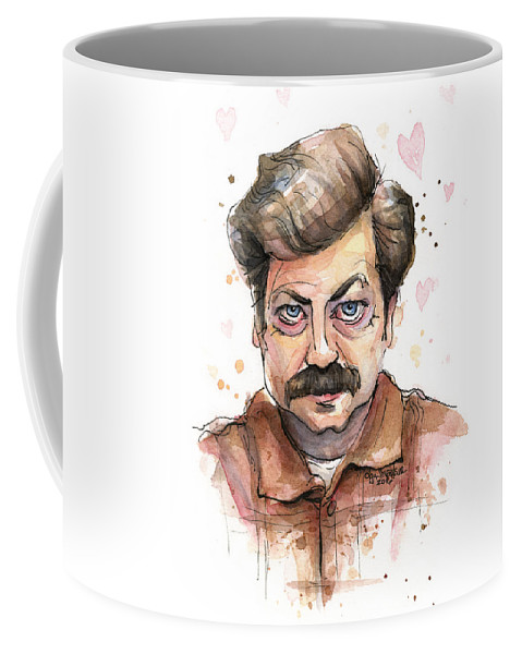 Parks Rec Coffee Mug featuring the painting Ron Swanson Funny Love Portrait by Olga Shvartsur