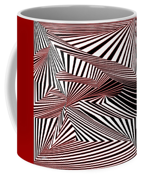 Dynamic Black And White And Red Coffee Mug featuring the digital art Rood Der by Douglas Christian Larsen