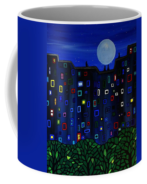 City Coffee Mug featuring the painting Roof Top View by Rachel Olynuk