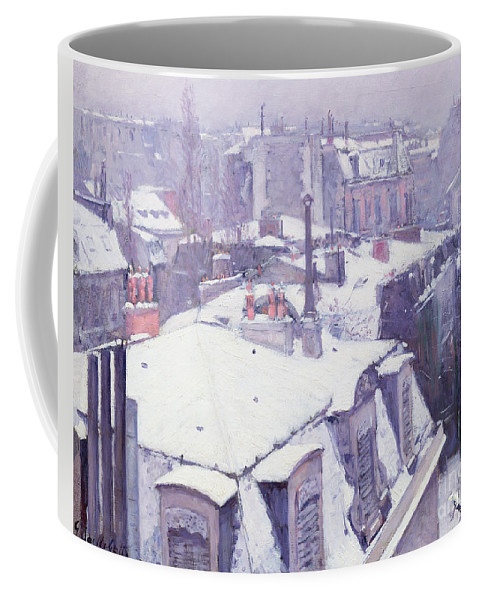 Snow Coffee Mug featuring the painting Roofs Under Snow by Gustave Caillebotte