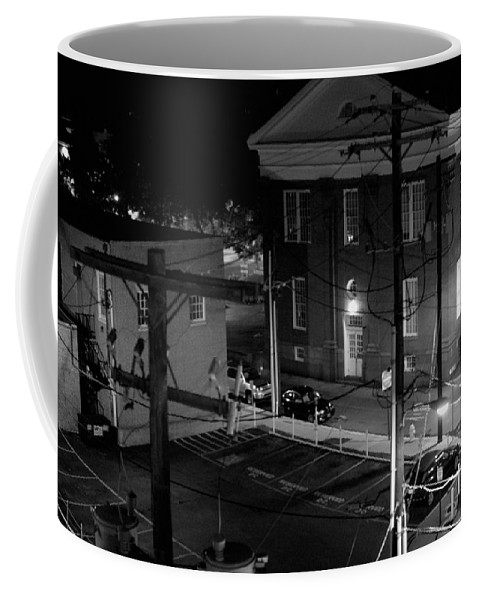 Black White Coffee Mug featuring the photograph Rooftop Court by Jean Macaluso