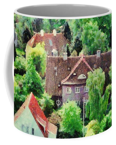 Aarhus Coffee Mug featuring the painting Rooftops by Jeffrey Kolker