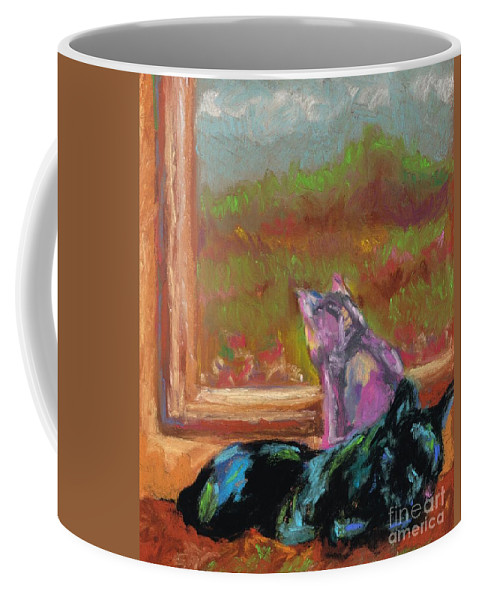 Cats Coffee Mug featuring the painting Room With A View by Frances Marino