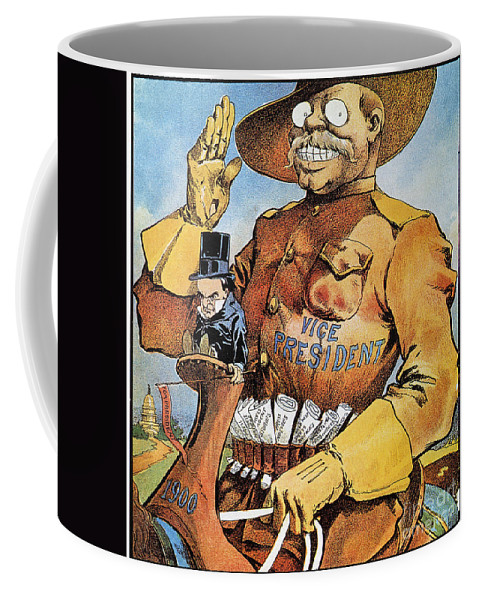 1900 Coffee Mug featuring the photograph Roosevelt/mckinley Cartoon by Granger