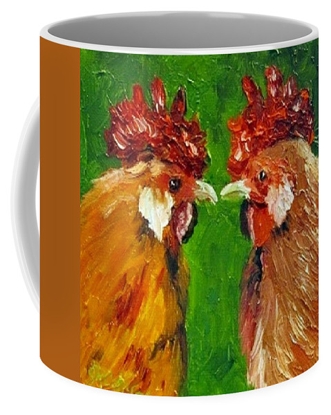 Rooster Coffee Mug featuring the painting Rooster Face Off by Sandra Reeves