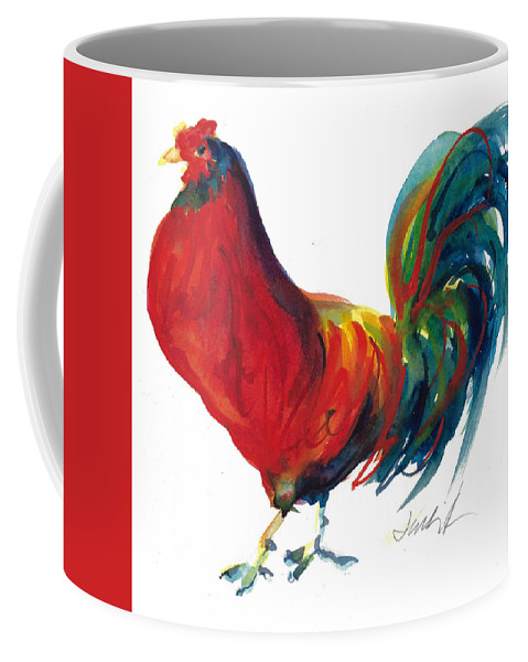 Rooster Painting Coffee Mug featuring the painting Rooster - Little Napoleon by Jacki Kellum