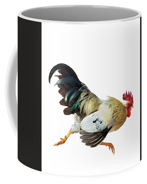 Rooster Coffee Mug featuring the digital art Rooster Running by Svetlana Foote