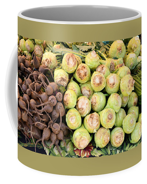 Root Vegetables Coffee Mug featuring the photograph Root Display At Farmers Market by Kae Cheatham