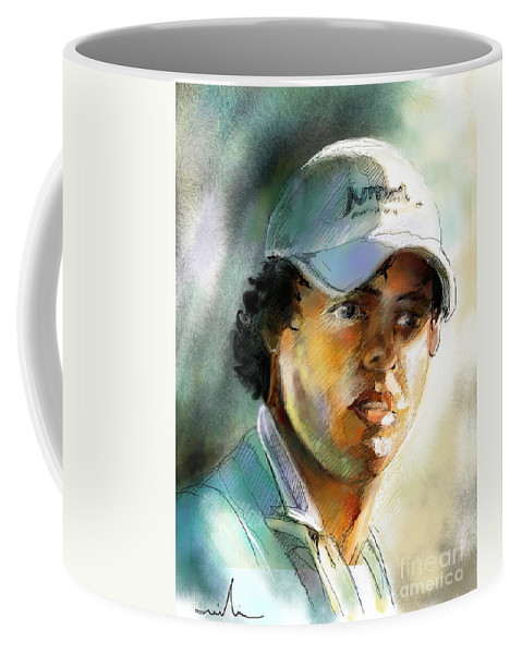Portrait Painting Golfer Golfart Rory Mcilroy Pga Tour Coffee Mug featuring the painting Rory Mcilroy by Miki De Goodaboom