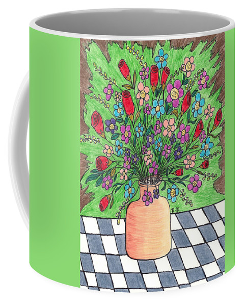 Still Life Coffee Mug featuring the mixed media Rose And Flowers by Ray Ratzlaff