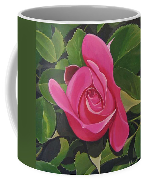 Pink Rose Coffee Mug featuring the painting Rose Arcana by Hunter Jay