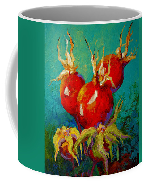 Floral Coffee Mug featuring the painting Rose Hips by Marion Rose