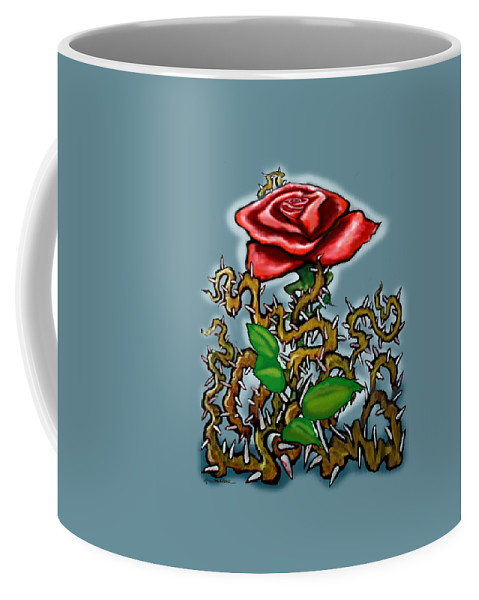 Rose Coffee Mug featuring the painting Rose N Thorns by Kevin Middleton