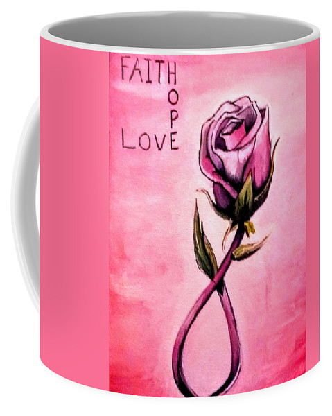 Breast Cancer Coffee Mug featuring the painting Rose Of Hope by Jessica Mincy
