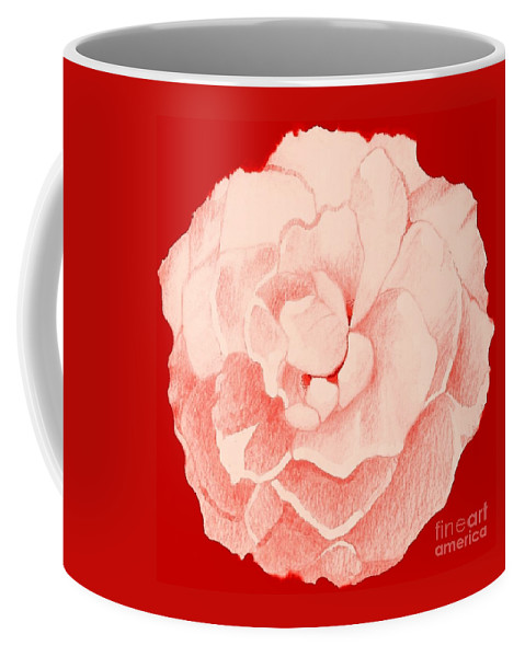 Pink Rose Coffee Mug featuring the digital art Rose On Red by Helena Tiainen