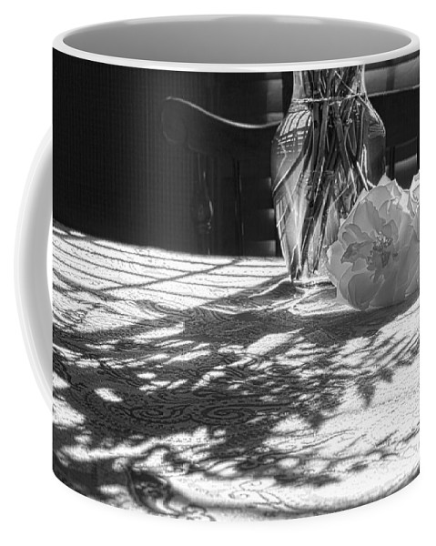 Flowers Coffee Mug featuring the photograph Rose Vase In Shadows Black And White by Joni Eskridge