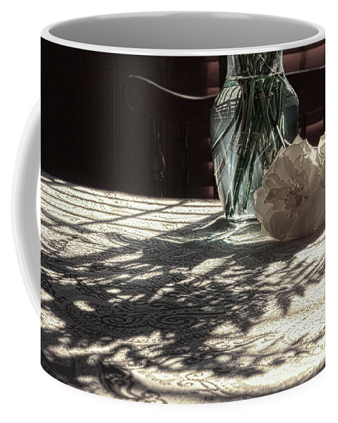 Flowers Coffee Mug featuring the photograph Rose Vase In Shadows Color by Joni Eskridge