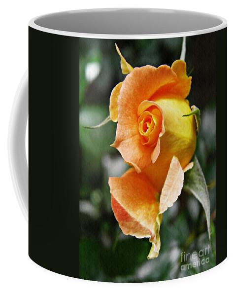 Rose Coffee Mug featuring the photograph Rosebud Opening by Sarah Loft