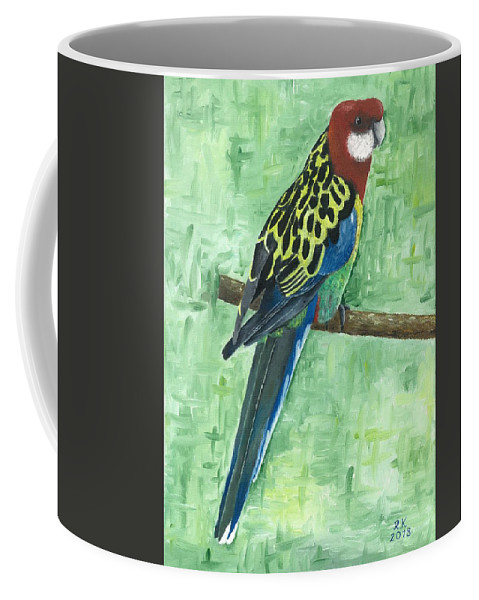 Rosella Coffee Mug featuring the painting Rosella by Rainer Kravets