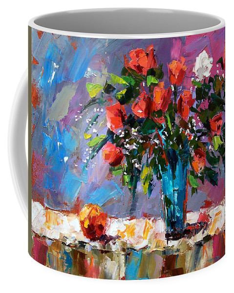 Flowers Coffee Mug featuring the painting Roses And A Peach by Debra Hurd