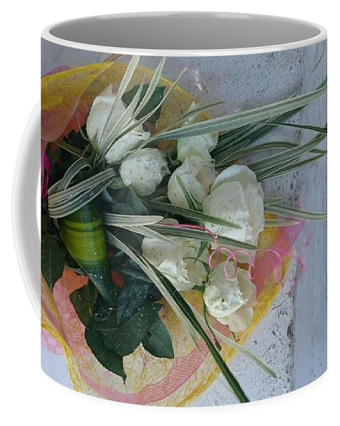 Rose Coffee Mug featuring the mixed media Roses And Chocolate by Mskathrynne