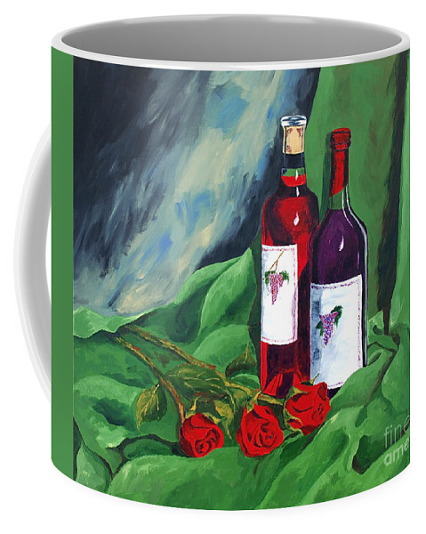 Wine And Roses Red Roses Red Wine Still Life Coffee Mug featuring the painting Roses And Wine by Herschel Fall