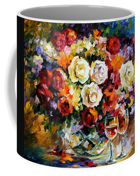 Still Life Coffee Mug featuring the painting Roses And Wine by Leonid Afremov